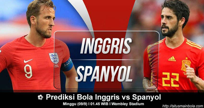 Prediksi Bola Inggris vs Spanyol 9 September 2018